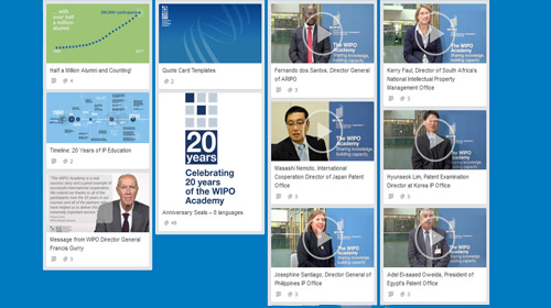 Screenshot of WIPO's social media kit for the 20th anniversary celebration of the WIPO Academy