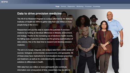 Screenshot of the innovation and health web story