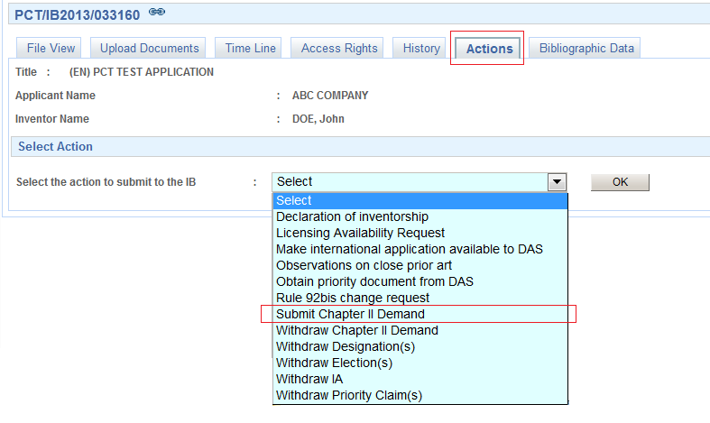 Filing the demand form electronically using ePCT