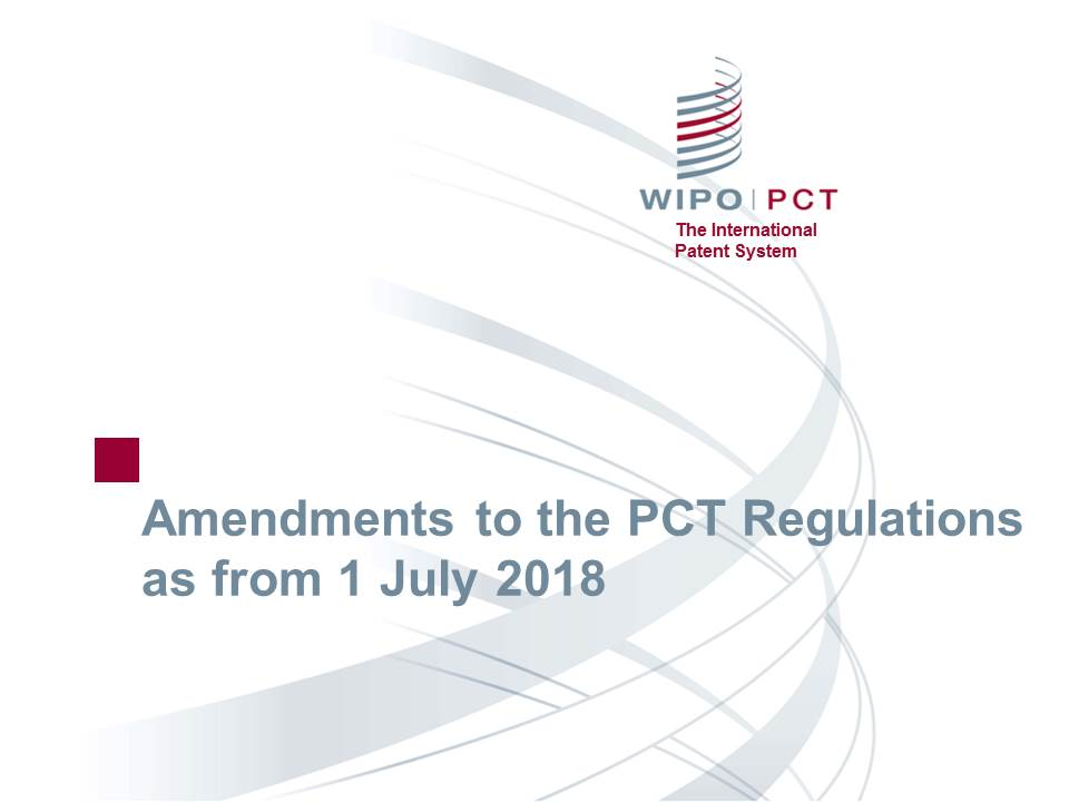 Amendments to the regulations 2018