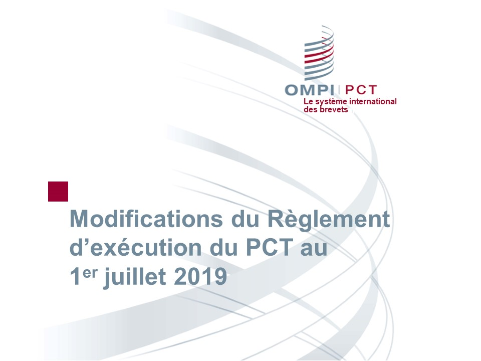 Modifications du règlement 2019