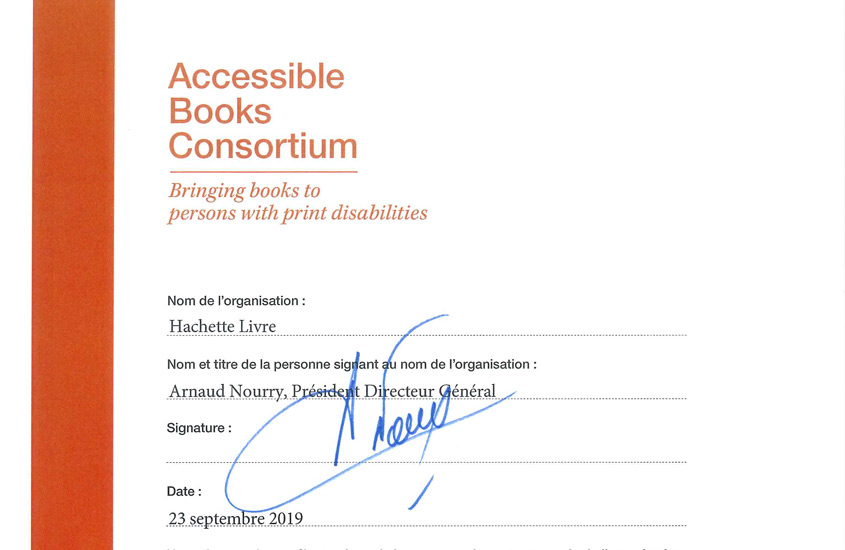 Hachette Livre is the 100th signatory of the Accessible Books Consortium Charter