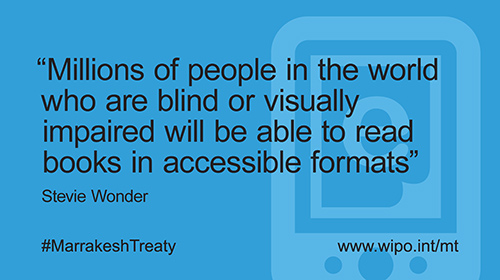 Millions of people in the world who are blin dof visually impaired will be able to read books in accessible formats.