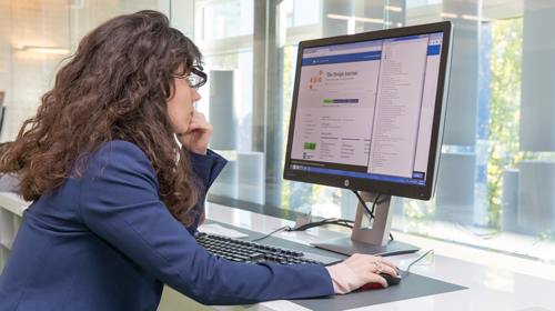 Photo of a student using the Academy's eLearning platform