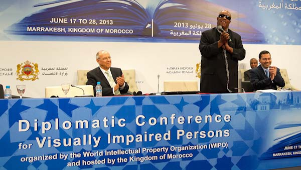 Stevie Wonder at the signing of the Marrakesh Treaty