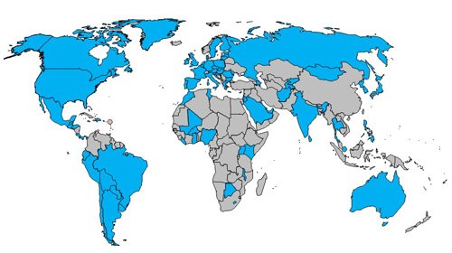 Map showing contracting parties of the Marrakesh Treaty