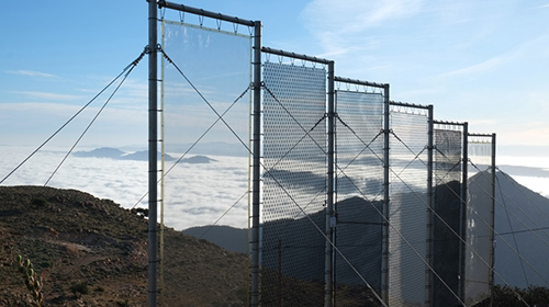 A fog-harvesting net on a mountain side